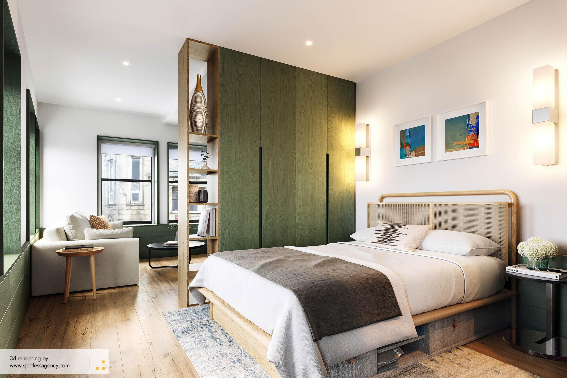 Interior Rendering  Bedroom 1