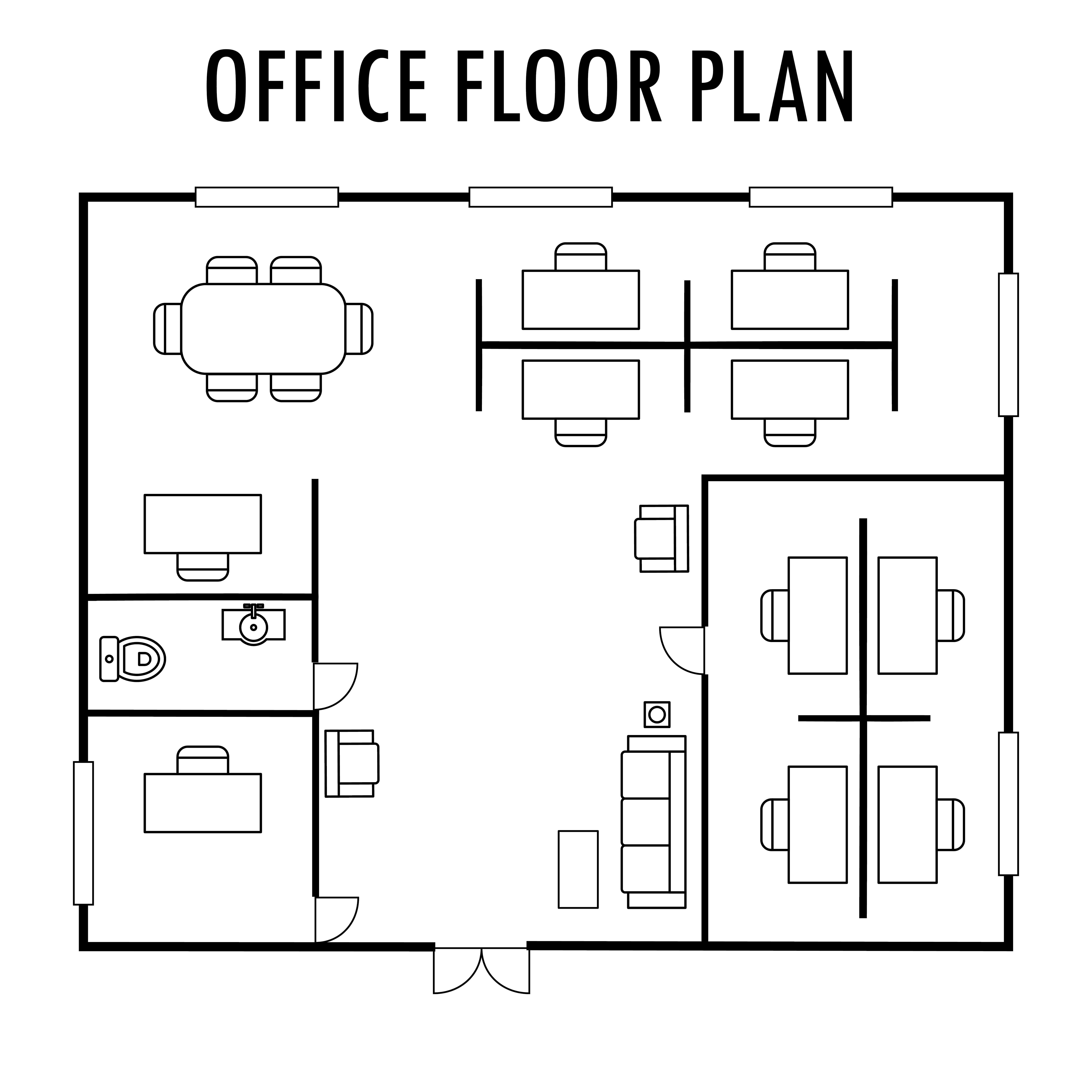 A floor plan of an office