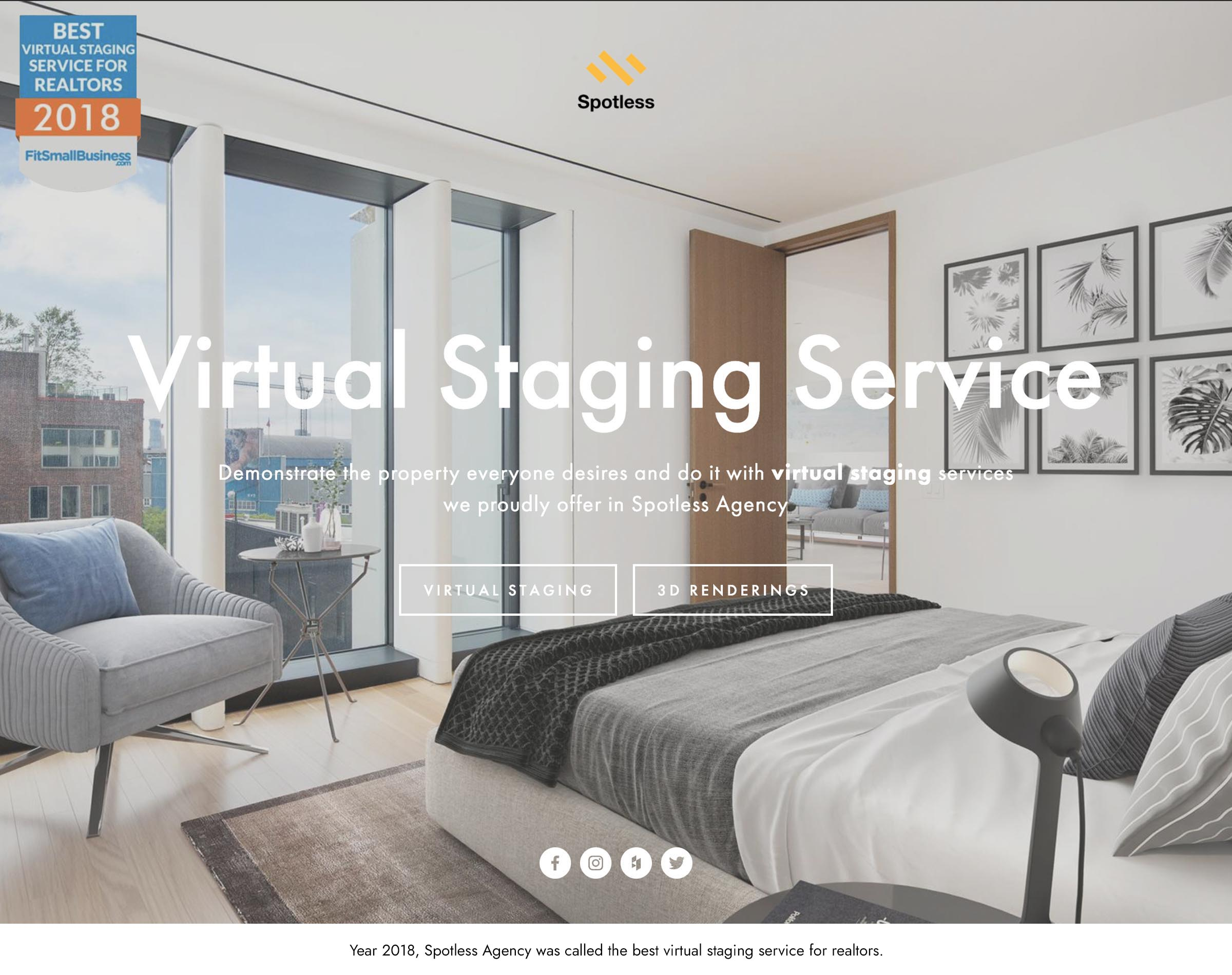 Year 2018, Spotless Agency was called the best virtual staging service for realtors.